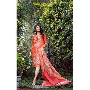 Oaks 3 Pcs Unstitched Suit for Women OL3P-3602-A Orange