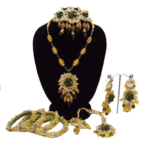 Milli Handmade Bridal Necklace for Women Green & Yellow