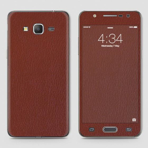 Samsung J7 Core Vinyl Skin Wrap Brown Classic Leather Material CC-356
