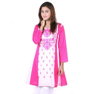 Embroidered Frowk Kurta DC311 - Pink and White