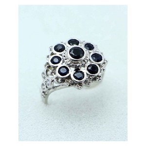 GILGIT BAZAR Sapphire Stone Ring GB1892 Black