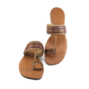 Thread Work Copper Chappal for Women PS- ...