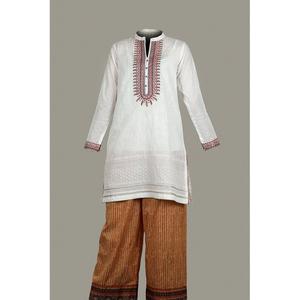 Tarzz 2 Pcs Oak Field Unstitched Suit For Women Buff White