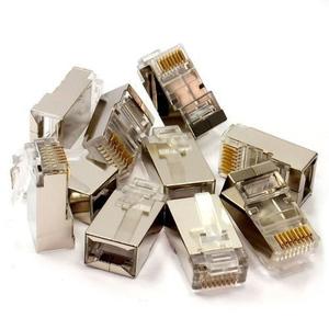 Ethernet Network Cable Crimp 50X RJ45 CAT5/6 Connector Clip Silver
