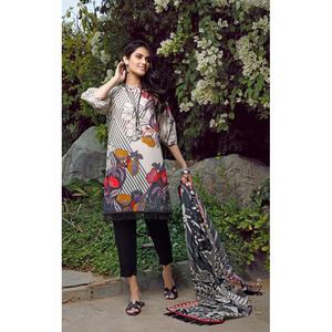 Oaks 2 Pcs Unstitched Suit For Women OL2P-3665-A Light Grey