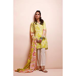 Oaks 2 Pcs Unstitched Suit for Women OL2P-3497-A Yellow