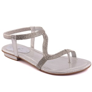 Women 'Adele' Diamante Embellished Flat Sandals - L29260 - Silver