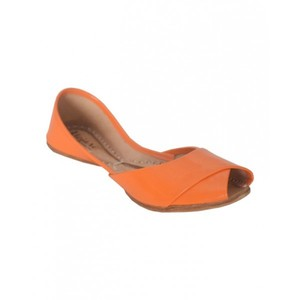 Peep Toe Khussa For Women SS-074 Glossy Orange