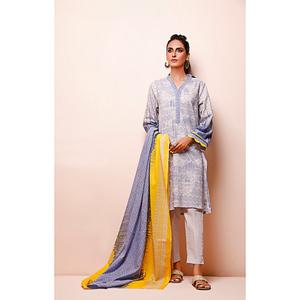 Oaks 2 Pcs Unstitched Suit for Women OL2P-3494-A Voilet & Yellow