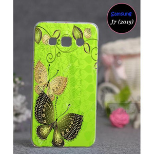 Butterfly Style Mobile Cover For Samsung J7 2015 SA-1706 Green