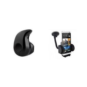 Mini Bluetooth Stereo Headphones and Universal Mobile Car Holder - Black