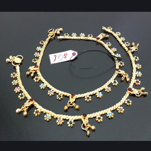 JOS Indian Anklet in Multi Flower Design Golden