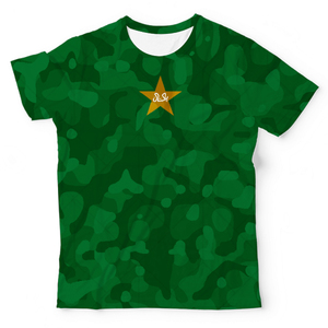 The Warehouse Pakistan Cricket Camouflage Design Unisex All Over Print T-shirt Green & White