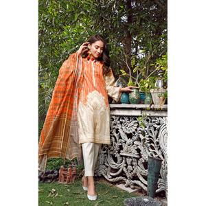 Oaks 2 Pcs Unstitched Suit For Women OL2P-3564-B Beige & Orange