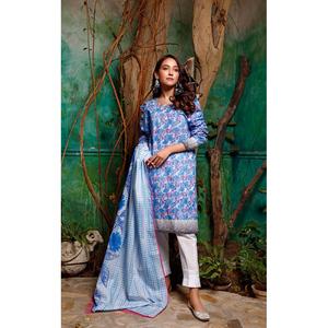Oaks 2 Pcs Unstitched Suit For Women OL2P-3662-A Blue