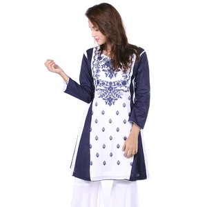 Embroidered Frowk Kurta DC312 - Navy Blue and Whit ...