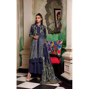 Oaks 3 Pcs Unstitched Suit for Women OLE3P-3594-B Blue
