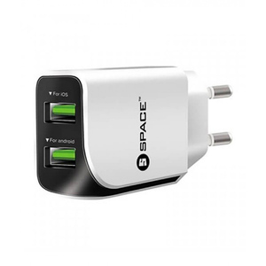 Space Dual USB Port Wall Charger White WC 110 White