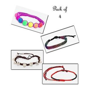 Fashion Cafe Pack Of 4 Thread & Beads Bracelet ...
