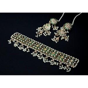 Dukaan4all Chokar Necklace Set DFA-10935 Green