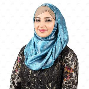 Banarsi Silk Printed Hijab For Women Bn002 Blue