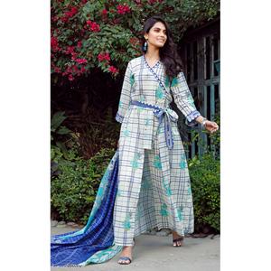 Oaks 2 Pcs Unstitched Suit For Women OL2P-3655-A White & Blue