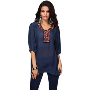 Cotton Embroided Kurti For Women Blue
