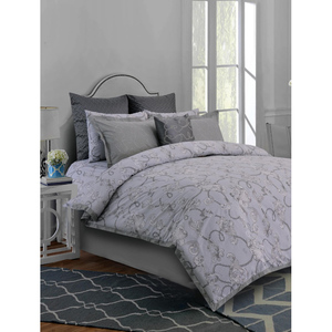 Khas Baroque Scroll Bed Set Accessories Grey
