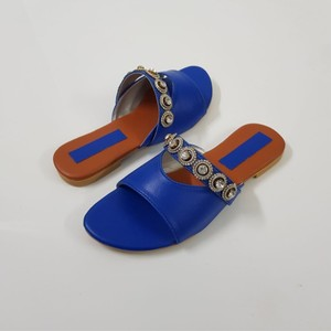 Flat Rexine Buckle Slippers For Women WI184 - Blue