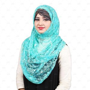 Lace Hijab For Women Pn051 Blue