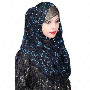 Women Net Hijab Pn064 Black & Blue