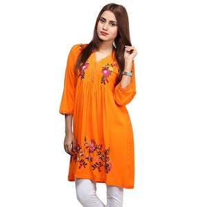 Frock Style Flowers Embroidered Kurti For Women N ...