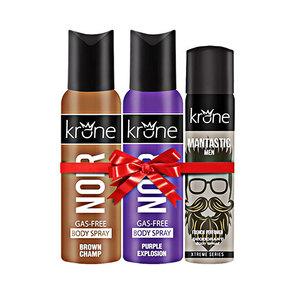 Bundle Offer Krone 2 Noir Xtreme brown & Purple Gas Free Body Spray 125 ml & 1 Xtreme body Spray 75 ml