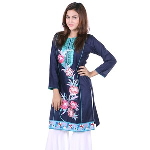 Cotton Embroidered Kurti DC55 - Navy Blue