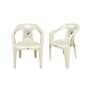 Venus Stylish Plastic Outdoor Chair Set of 2 TBL-TRL-137 White
