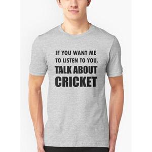 Virgin Teez Talk About Cricket Sport T-Shirt for Men Grey