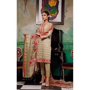 Oaks 3 Pcs Unstitched Suit for Women OLE3P-3595-A Beige