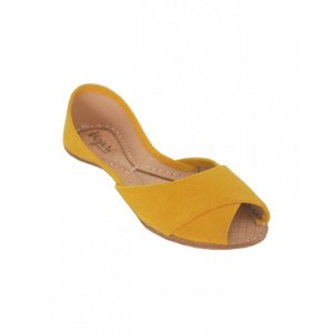 Suede Peep Toe Khussa For Women SS-274 Yellow