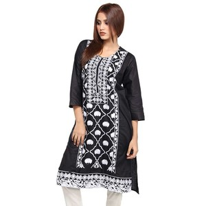 Round Neck Embroidered Kurti For Women KH05 - Blac ...