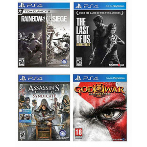 Classic Hits Bundle - God Of War 3 Remastered, Last Of Us Remastered, Rainbow Six Siege & Assassin's Creed Syndicate - PS4-