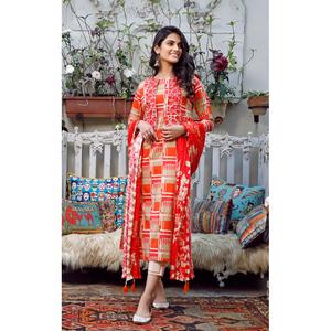 Oaks 2 Pcs Unstitched Suit For Women OLE2P-3654-A Orange
