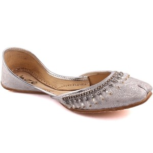 Women JAINISM Indian Khussa Slippers - L29190 - Silver
