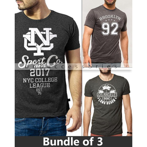 BNB Accessories Pack of 3 T-Shirts for Men CRS-108 Grey