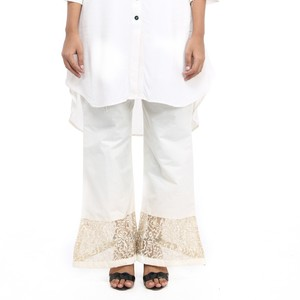 Cotton Bell Bottom Trouserss For Women- Off White