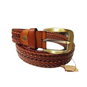 Leather Braided Belt for Men - Mustard