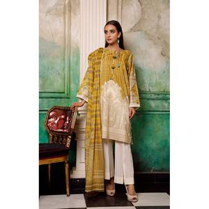 Oaks 2 Pcs Unstitched Suit For Women OL2P-3564-C Beige & Yellow