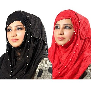 Pack of 2 Net Hijab PK006 Black & Red