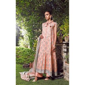 Oaks 3 Pcs Unstitched Suit for Women OL3P-3664-B Peach