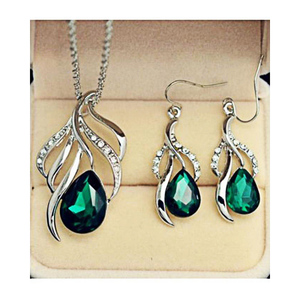 The Marshall Crystal Stone Earrings & Necklace Set for Women TM-ER-04 Silver & Green