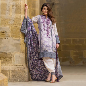 3 Pcs Ladies Designer Unstitched Dress Lilac Bloom ...